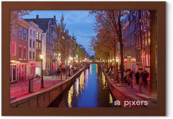 Plakat w ramie Dzielnica Czerwonych Latarni w Amsterdamie - Tematy