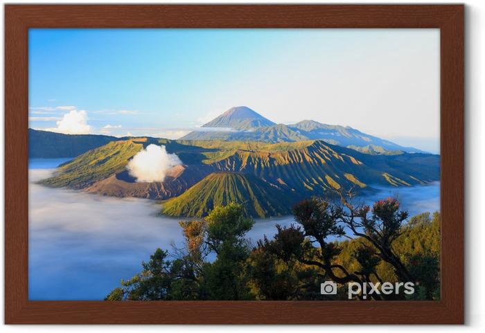 Plakat w ramie Wschód słońca. Bromo wulkan w Indonezji - Azja
