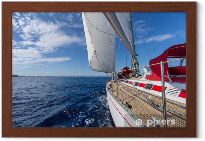 Çerçeveli Poster Mavi deniz Yelkenli yat - Deniz ve okyanus
