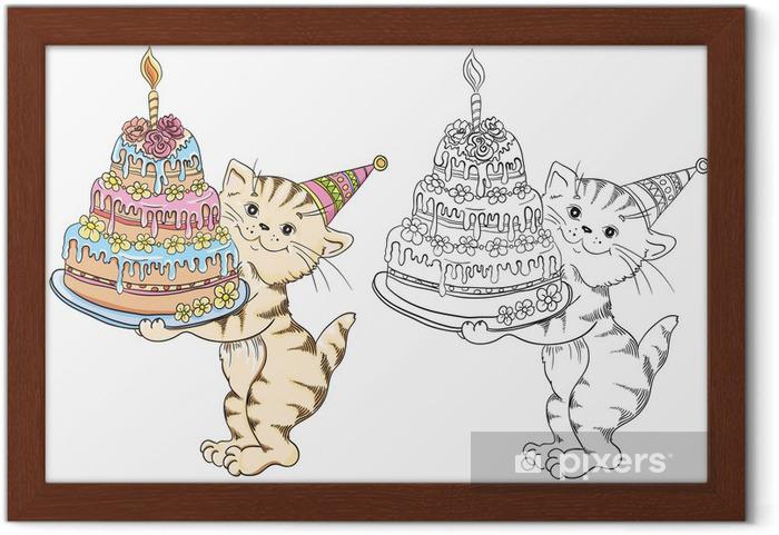 Doğum Günü Pastası Ile Karikatür Kedi Ile Boyama Kitabı çerçeveli