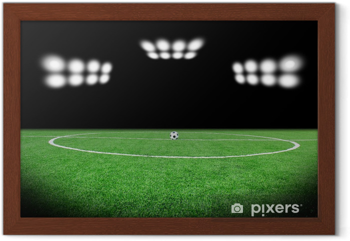 Gerahmtes Poster Fussball Stadion Fussball Feld Hintergrund Publikum Uberfullt Sp