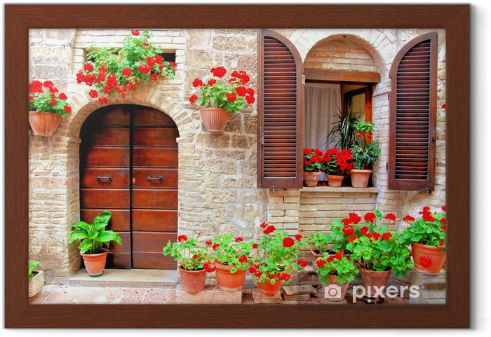 Ingelijste Poster Italiaanse huis voorzijde met kleurrijke bloembakken - Thema's