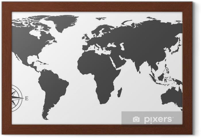 Póster Enmarcado Vector Mapa del mundo - Vinilo para pared