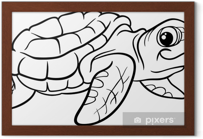 Deniz Kaplumbağa Boyama Kitabı çerçeveli Poster Pixers Haydi