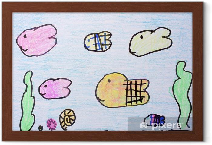 Akvaryum Mum Boya çizimi çerçeveli Poster Pixers Haydi