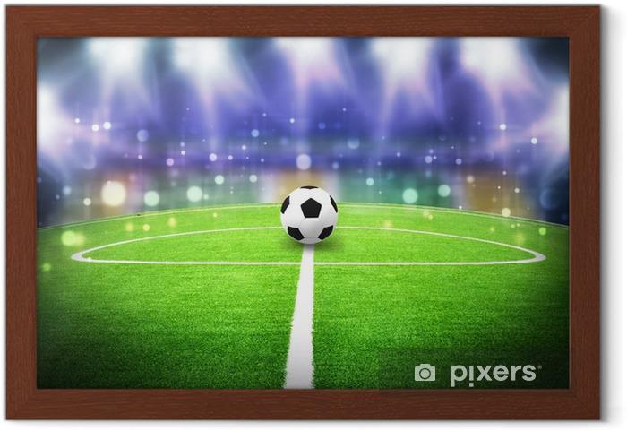 Gerahmtes Poster Fussballstadion Nacht