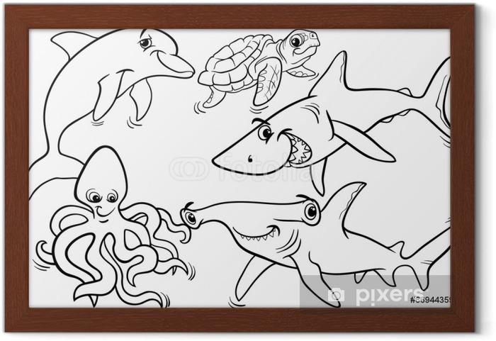 Gerahmtes Poster Leben Im Meer Tiere Und Fische Malvorlagen