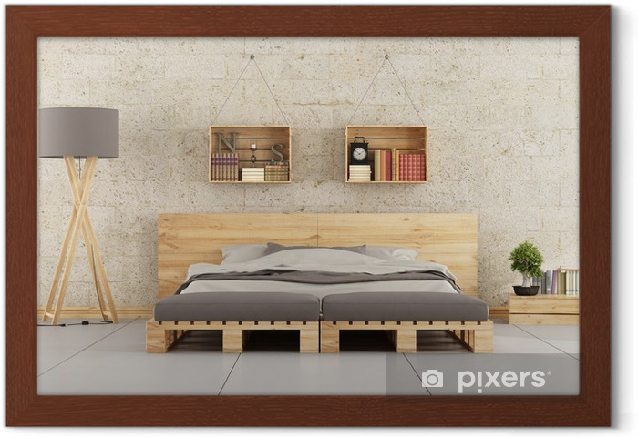 Tugla Duvara Palet Yatak Modern Yatak Odasi Cerceveli Poster