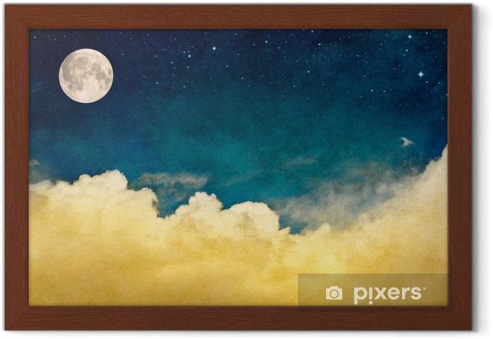 Gerahmtes Poster Vollmond und Wolken - Landschaften