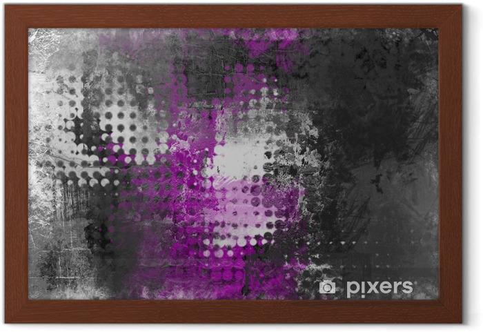 Poster en cadre Résumé de fond grunge avec gris, blanc et violet - Industriel