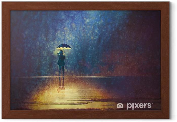 Plakat w ramie Samotna kobieta pod parasolem światła w ciemności, cyfrowego obrazu - Hobby i rozrywka