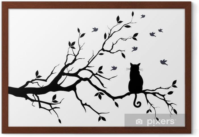 Plakát v rámu Kočka na stromě s ptáky, vektoru - Věda a Příroda