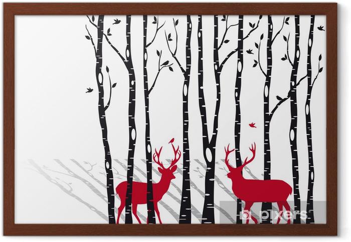 Plakat w ramie Brzozy z Christmas jelenie, wektor -