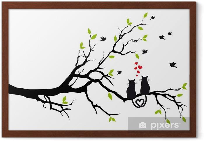 Póster Enmarcado Gatos en amor en rama de árbol, vector - Destinos