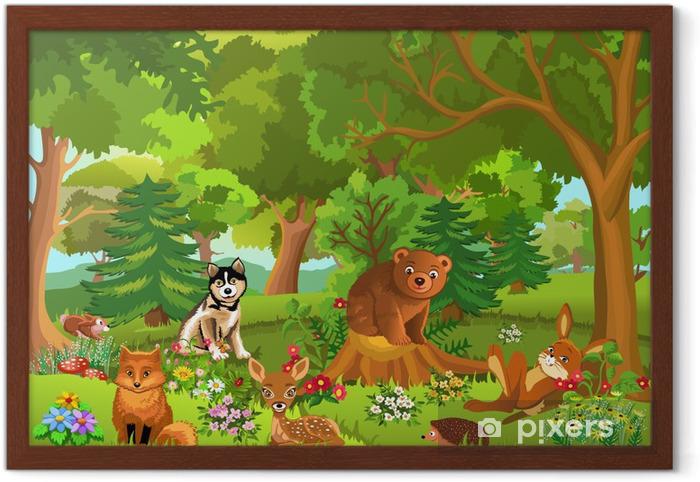 Ormanda Yaşayan Sevimli Hayvanlar çerçeveli Poster Pixers Haydi