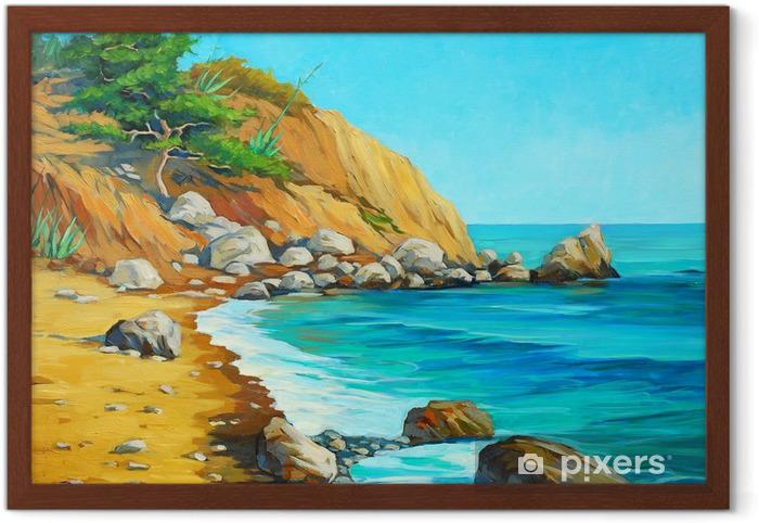 Bir Plaj Ve Bay Boyama B Akdeniz Deniz Manzara Cerceveli Poster