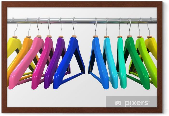 Plakat w ramie Kolorowe wieszaki na ubrania - Sprzedaż
