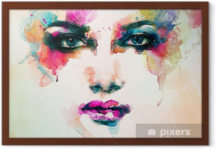 Ingelijste Poster Vrouw portret .abstract aquarel Mode-achtergrond - Mensen