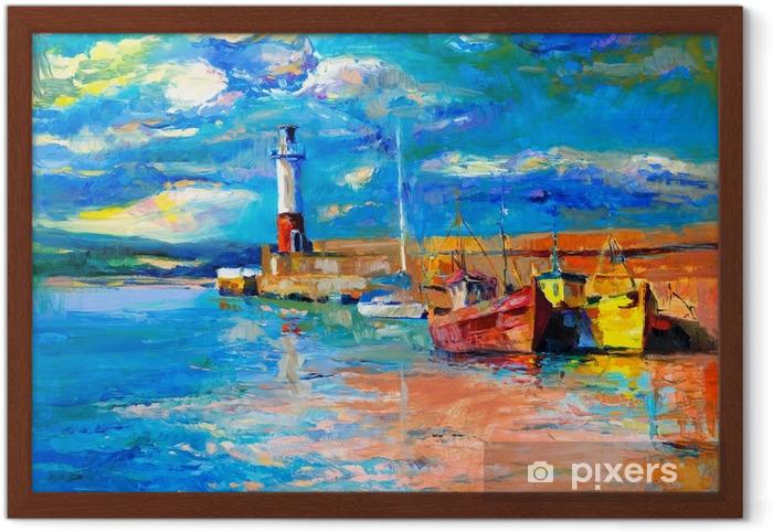 Póster Enmarcado Faro y barcos - Hobbies y entretenimiento