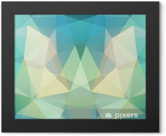 Ingelijste Poster Geometrisch patroon, veelhoek driehoeken vector achtergrond in groen, blauw, beige tinten. illustratie patroon - Grafische Bronnen