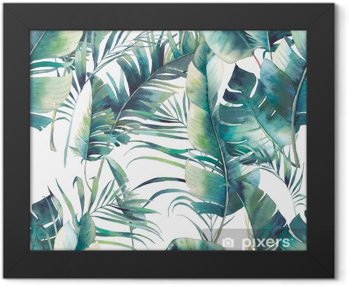 Plakat w ramie Lato palmy i wzór liści bananowych. akwarela tekstury z zielonymi gałązkami na białym tle. ręcznie rysowane tropikalny tapeta - Rośliny i kwiaty