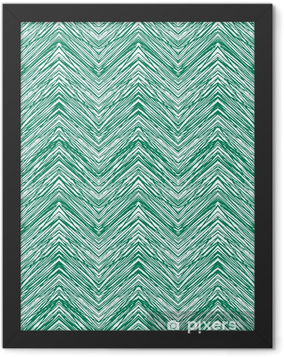Emerald green hand drawn vector zigzag pattern Framed Poster - Graphic Resources
