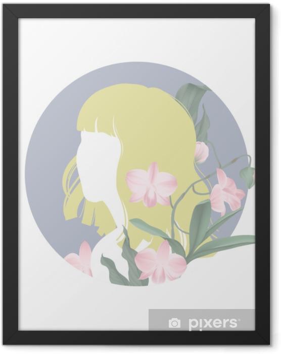 Plakat w ramie Żółte włosy dziewczyna sylwetka z kwitnących różowe kwiaty orchidei dendrobium w niebieskie koło ramki - Ludzie