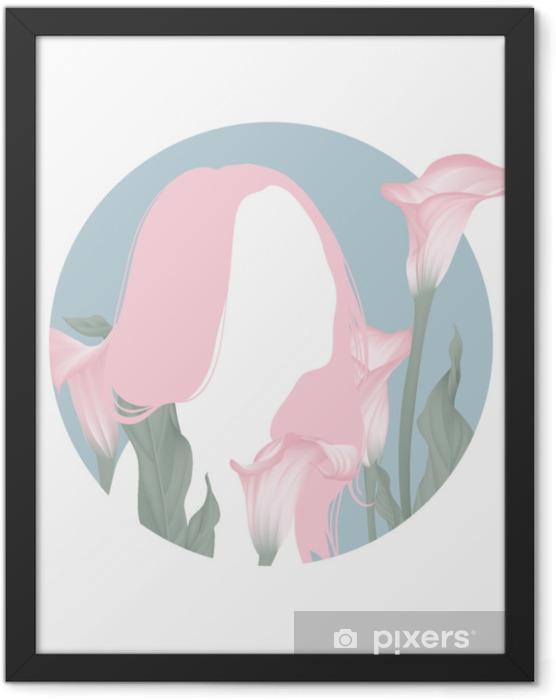 Plakat w ramie Różowe długie włosy dziewczyna sylwetka z kwitnących różowych kwiatów lilii calla w niebieskie koło ramki - Ludzie