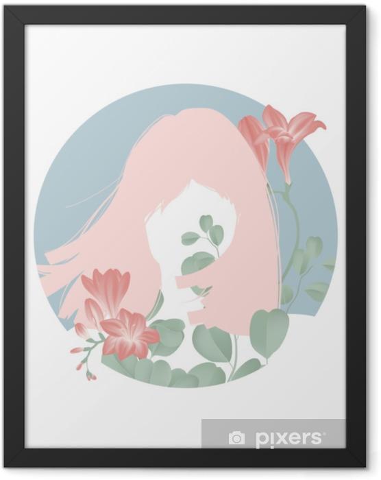 Poster en cadre Silhouette fille cheveux roses avec des fleurs de freesia rouges en fleurs dans un cadre de cercle bleu - Personnes