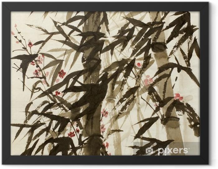 Plakat w ramie Bambusowe drzewa i śliwki gałęzi - Rośliny i kwiaty