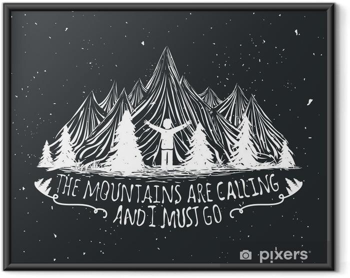 Plakát v rámu Vektor divočina citát plakát s lidskou siluetu, hory a lesy - Krajiny