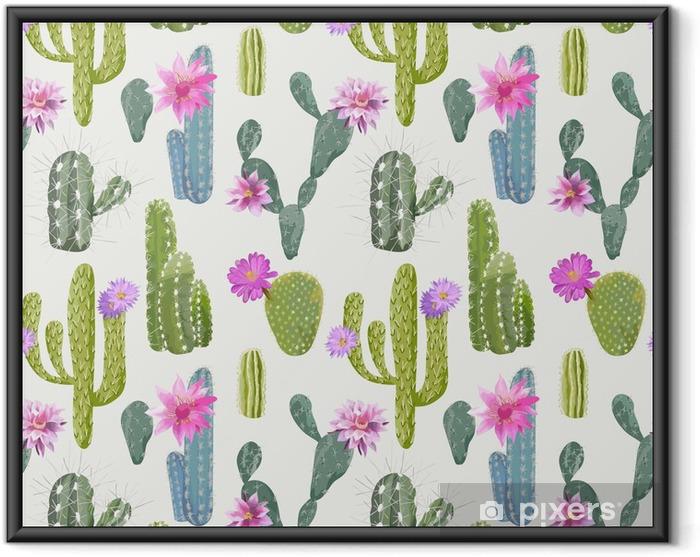 Poster i Ram Vector Cactus bakgrund. Seamless mönster. Exotiska växter. Tropisk - Växter & blommor