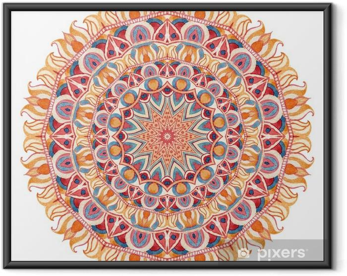Ingelijste Poster Waterverfmandala met heilige geometrie. Sierlijke kant op een witte achtergrond. - Grafische Bronnen