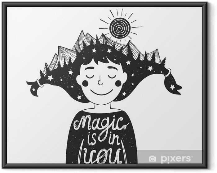Poster en cadre Affiche de la typographie avec une fille et les montagnes dans les cheveux et devis - Personnes