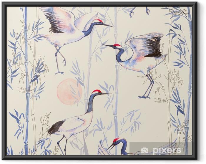 Póster Enmarcado Modelo inconsútil de la acuarela dibujado a mano con grúas blancas baile japonés. fondo repetido con aves delicadas y bambú - Animales