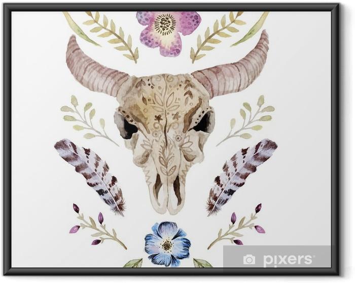 Poster i Ram Akvarell vektor boho illustration med skallen - Grafiska resurser