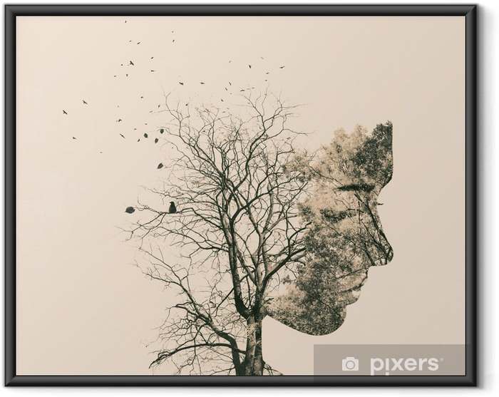 Ingelijste Poster Dubbele blootstelling portret van een jonge vrouw en de herfst bomen. - Mensen