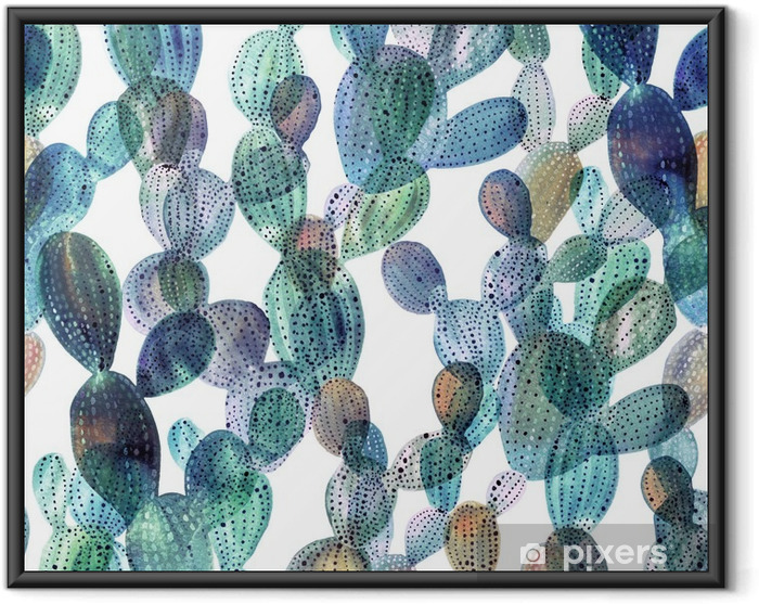 Poster i Ram Kaktus mönster i akvarell stil - Växter & blommor