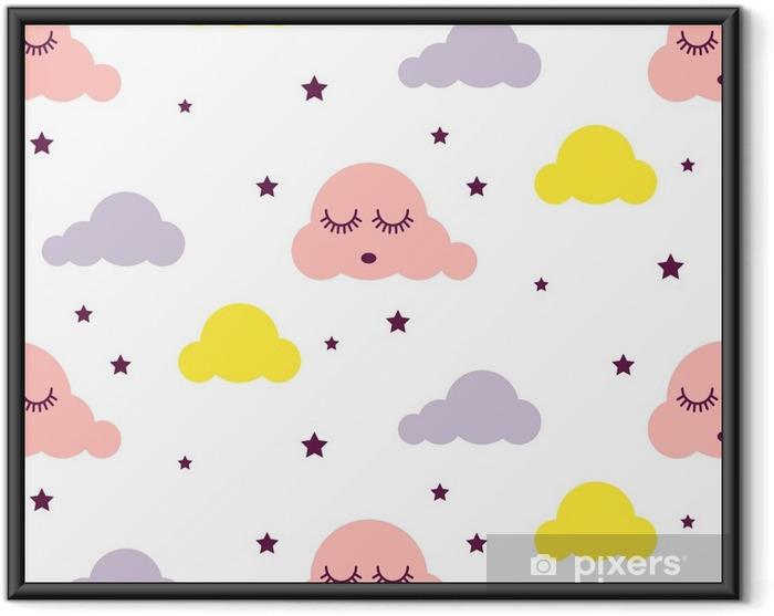 Ingelijste Poster Slaperig wolken meisjesachtig naadloos jong geitje vectorpatroon. roze, gele en witte achtergrond. schattige baby stijl textiel cartoon Scandinavisch ornament. - Grafische Bronnen