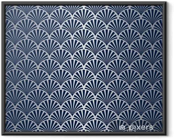Póster Enmarcado Patrón de concha art déco inconsútil con gradiente de plata - Recursos gráficos