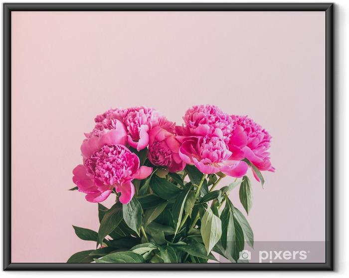 Ingelijste Poster Een boeket van mooie pioenrozen op een roze achtergrond. - Bloemen en Planten