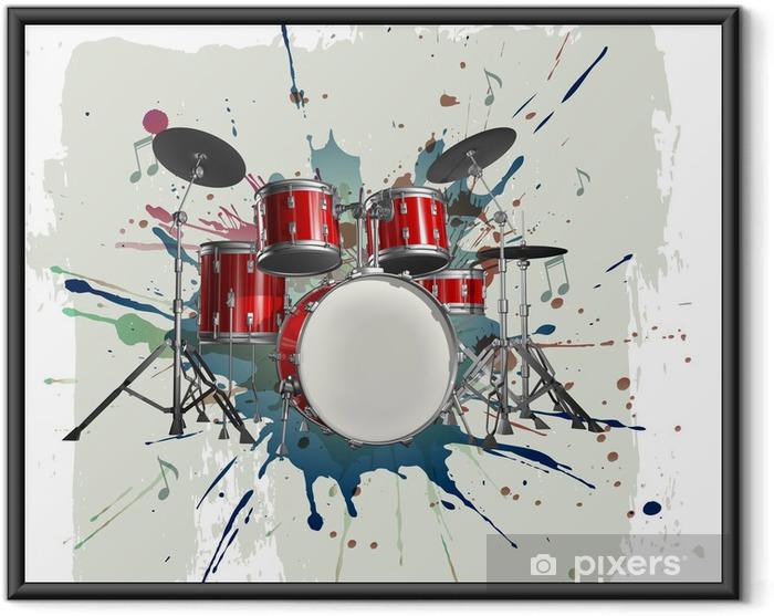Poster en cadre Kit de batterie sur le fond grunge - Jazz