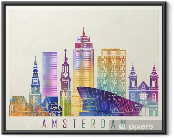 Çerçeveli Poster Amsterdam yerler suluboya afiş - Manzaralar