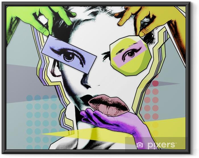 Plakat w ramie Kobieca piękność i chirurgia plastyczna. retro plakat w stylu pop art .. - Styl życia