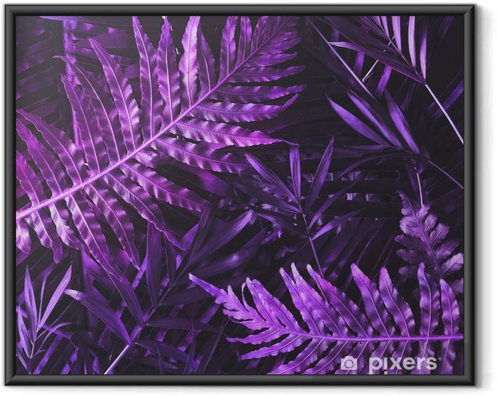Ingelijste Poster Creatieve tropische paarse bladeren lay-out. bovennatuurlijk concept. plat leggen. ultraviolette kleuren. - Bloemen en Planten