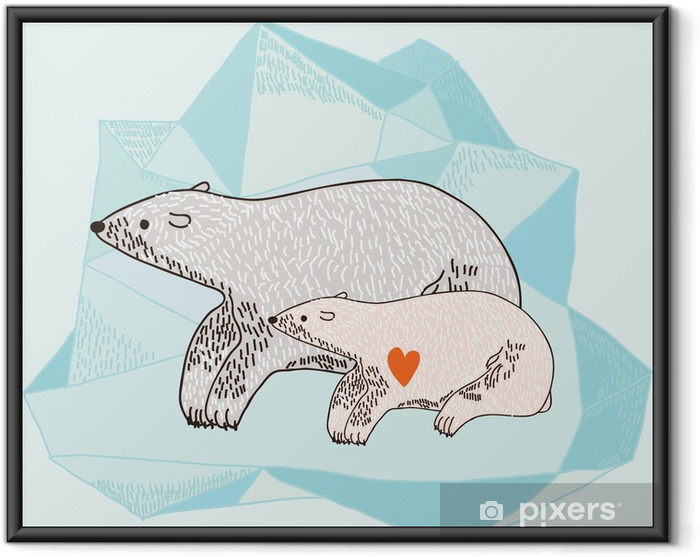 Poster en cadre Mère avec Polar Bear -