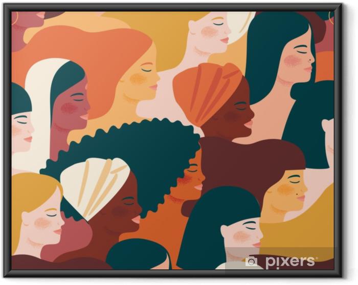 Plakat w ramie Międzynarodowy Dzień Kobiet. wektor wzór z kobietami różnych narodowości i kultur. - Ludzie