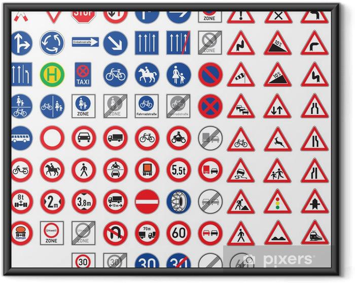 Poster en cadre Panneaux de signalisation et des signaux de danger définies - Sur la route