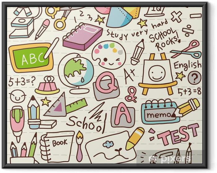Ingelijste Poster Schattige Doodle Back to School -