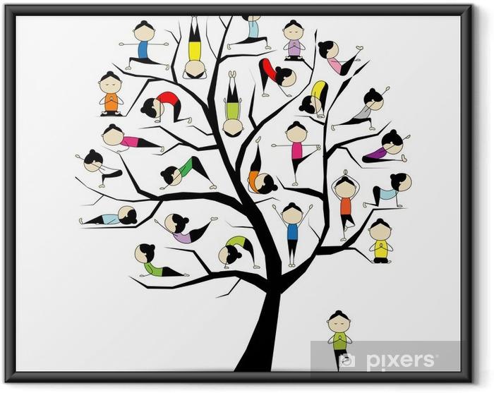 Ingelijste Poster Yoga, boom concept voor uw ontwerp - Bomen en bladeren